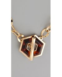 Tory Burch - Metallic Hexagon Toggle Necklace - Lyst