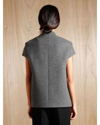 Tze Goh - Gray Cashmere and Virgin Wool Short Sleeved Jacket - Lyst