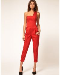ASOS Collection - Red Jumpsuit with One Shoulder Detail - Lyst