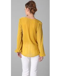 Blu Moon - Yellow Bell Sleeve Top - Lyst