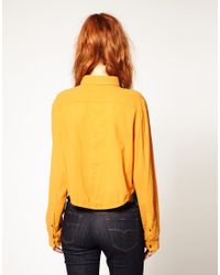 DIESEL | Yellow Crop Printed Front Shirt | Lyst