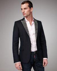 DSquared²   Black Studded Classic Blazer for Men   Lyst