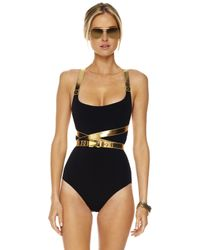Michael Kors | Black Belted Leather-contrast Swimsuit | Lyst