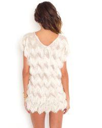Nasty Gal - White Penelope Fringe Dress - Lyst