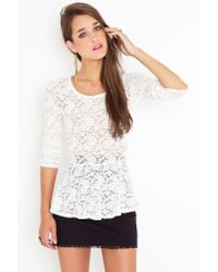 Nasty Gal | White Lace Peplum Top | Lyst