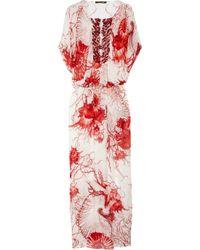 Roberto Cavalli   Multicolor Shell-Print Silk-Chiffon Kaftan   Lyst