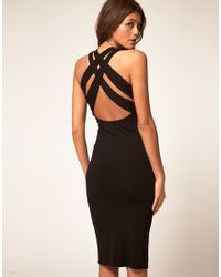 ASOS Collection | Black Asos Midi Dress with Cross Back Strap | Lyst