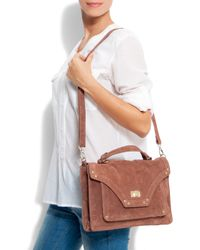 Mango - Brown Leather Messenger Bag - Lyst
