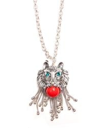 Mango - Metallic Lion Necklace - Lyst