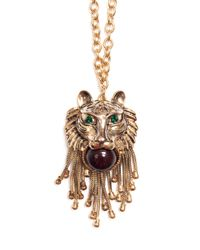 Mango - Metallic Lion Necklace - Lyst