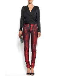 Mango - Red Jeans Metallic Effect Stiches - Lyst