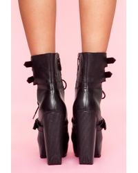 Nasty Gal | Andee Strapped Boot - Black | Lyst