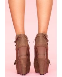 Nasty Gal | Brown Mercer Wedge Boot - Cocoa | Lyst