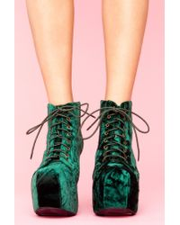 Nasty Gal | Lita Platform Boot - Green Crushed Velvet | Lyst