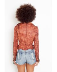 Nasty Gal | Brown Flax Leather Moto Jacket | Lyst