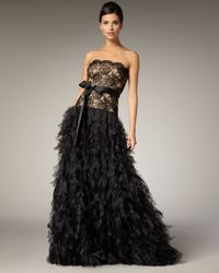 Tadashi Shoji | Black Lace Bodice and Feathered Skirt Gown | Lyst