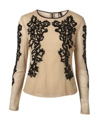 TOPSHOP | Natural Long Sleeve Mesh Sequin Blouse | Lyst