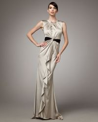 Vera Wang Lavender - Metallic Bead-back Satin Gown - Lyst