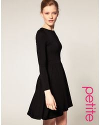 ASOS Collection - Black Asos Petite Skater Dress with Gathered Waist - Lyst