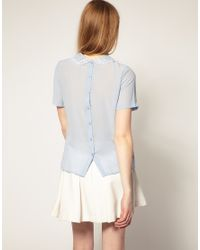 ASOS Collection - Blue Asos Sheer Blouse with Embroidery - Lyst
