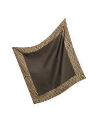 Fendi - Brown Logo Border Silk Twill Square Scarf - Lyst