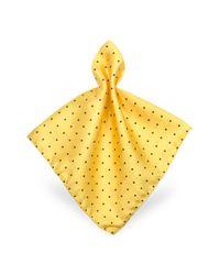FORZIERI | Yellow Polkadot Twill Silk Pocket Square for Men | Lyst