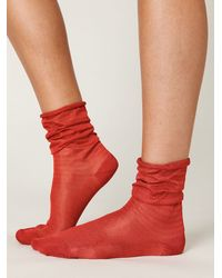 Free People | Red Slinky Sheer Ankle Sock | Lyst