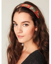 Free People | Orange Embroidered in Floral Headband | Lyst