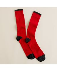 J.Crew | Red Two-color Tipped Cotton Socks for Men | Lyst