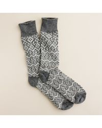 J.Crew | Gray Fair Isle Camp Socks for Men | Lyst