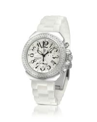 Lancaster | White Pillo Diamond Silicone Band Chrono Watch | Lyst