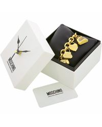 Moschino - Metallic Time For Shopping - Gold Plated Charm Bracelet Watch - Lyst