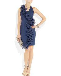 Notte by Marchesa   Blue Ruffled Silk-chiffon and Organza Halterneck Dress   Lyst