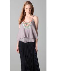 Rebecca Taylor | Metallic Pom Pom Beaded Cami | Lyst