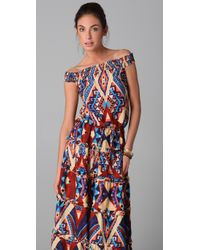 Torn By Ronny Kobo - Blue Silvia Mayan Long Dress - Lyst
