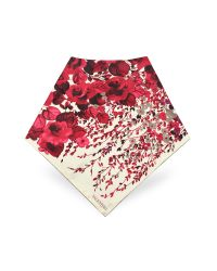 Valentino | Red Vintage Rose Printed Silk Square Scarf | Lyst