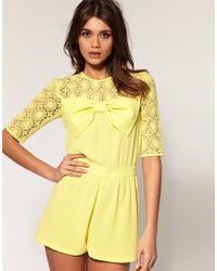 ASOS Collection | Yellow Asos Lace Bow Playsuit | Lyst