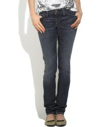 Current/Elliott - Blue The Cropped Straight Mid-rise Distressed Jeans - Lyst
