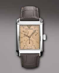 Emporio Armani | Brown Embossed-strap Rectangular Watch for Men | Lyst