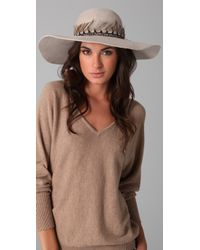 Eugenia Kim - Natural Honey Wide Brim Hat with Feather Band - Lyst