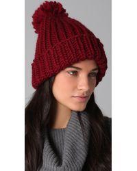 Eugenia Kim - Red Rain Chunky Cuffed Pom Hat - Lyst