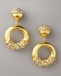 Jose & Maria Barrera - Metallic Pave Gold Clip Earrings - Lyst