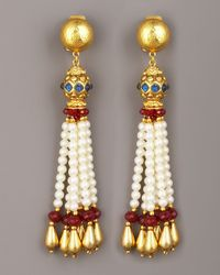 Jose & Maria Barrera | Metallic Pearl-tassel Drop Earrings | Lyst