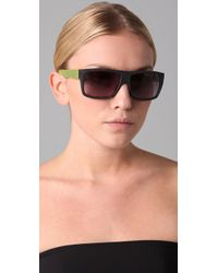 Marc By Marc Jacobs | Green Flat Top Sunglasses | Lyst