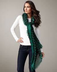 Marc Jacobs | Black Large Dotted Cashmere-silk Scarf, Green | Lyst