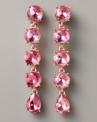 Oscar de la Renta - Pink Crystal Drop Clip Earrings, Rose - Lyst