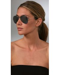 Ray-Ban - Black Mirrored Aviator Metal Sunglasses - Lyst