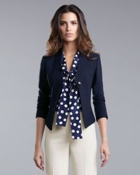 St. John | Blue Fitted Jacket | Lyst