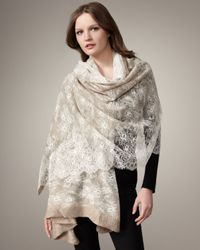 Valentino | Natural Lace-overlay Cashmere Shawl, Beige | Lyst