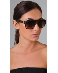 Saint Laurent | Brown Plastic Aviator Sunglasses | Lyst